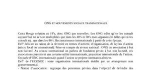 ONG et mouvements sociaux transnationaux