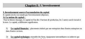 L'investissement en économie