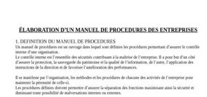 Elaboration d'un manuel des procedures de gestion administrative, financiere et comptable