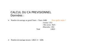Calcul du CA provisionnel