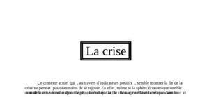Dossier crise / finance / économie