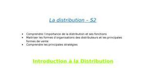 Cours de distribution