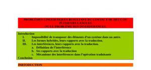 Cours de linguistique contrastive : les interférences linguistiques