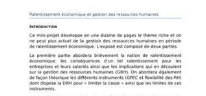 Gestion des ressources humaines (grh) et ralentissement économique