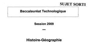 Sujet bac stg 2009 histoire geographie