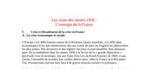 La France pendant la crise des années 1930