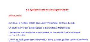 Le système solaire et la gravitation