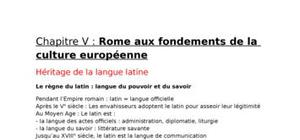Rome aux fondements de la culture européenne