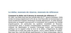 Le dollar, monnaie de réserve, monnaie de référence
