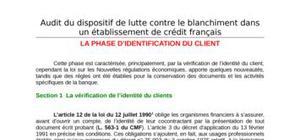 Etapes d'audit du dispositif de lutte contre le blanchiment : la phase d'identification du client