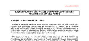 La justification des phases de l'audit comptable et financier en 10 points