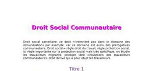 Droit social communautaire