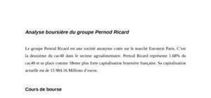 Analyse boursière Pernod Ricard