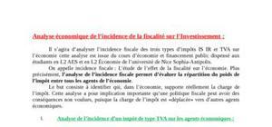 Analyse économique de l'incidence de la fiscalité sur l'investissement