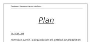 La planification de la gestion de la production