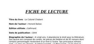 Fiche lecture colonel chabert - La chambre des officiers resume complet du livre ...