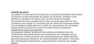 La qualité du plant (pépiniere)