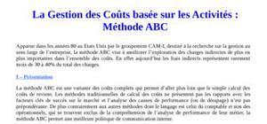 Gestion des coût basés sur la méthode abc