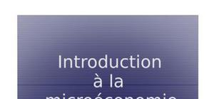 Introduction a la microeconomie