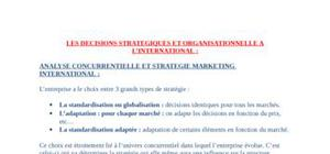 Analyse concurrentielle et strategie marketing international
