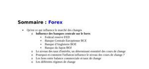 Le marché de change: influence de la banque centrale