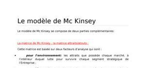 Le modèle de mc kinsey