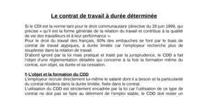 Le contrat de travail à durée déterminée
