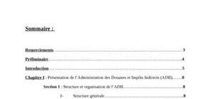 Rapport de stage au sein de l'administration des douanes et impots indirects