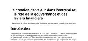 Création de la valeur dans l'entreprise ou rôle de la gouvernance