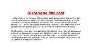 Historique du low cost