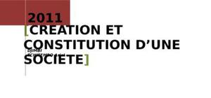 Creation et constitution d'une societe