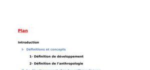 Le concept de developpement chez les antropologues