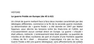 La guerre froide en europe (de 45 à 62)
