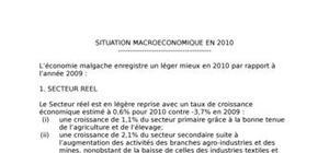 Situation macroeconomique madagascar 2010