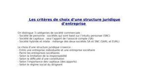 les critères de choix d'une structure juridique d'entreprise