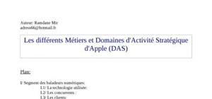 Domaines d'activité strategiques  apple et métiers