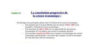 La constitution progressive de  la science économique