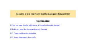 Résumé d'un cours de mathématiques financières