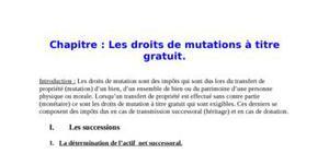 Les droits de mutations à titre gratuit