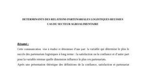 Determinants des relations partenariales logistiques reussies cas du secteur agroalimentaire