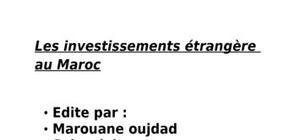Les investissements étrangère au maroc