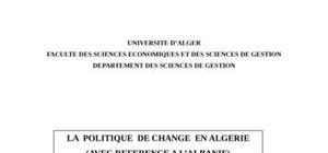 La  politique  de change  en algerie (avec reference a l'albanie)