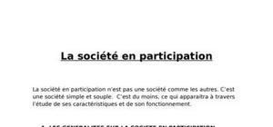 La sté en participation