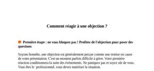 Comment reagir a une objections
