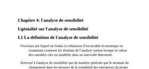 Evaluation de projet avec l'analyse de sensibilité