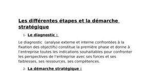 Les différentes étapes et la démarche stratégique