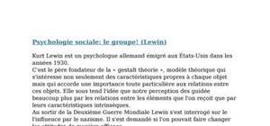 Psychologie sociale: le groupe! (lewin)