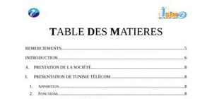 Rapport de stage tunisie telecom
