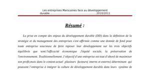 Les entreprises marocaine face au développement durable