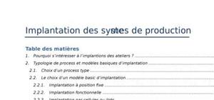 Implantation des systemes de productionimplantation des syste mes de production